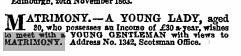 Classified Ad 21 Nov 1863